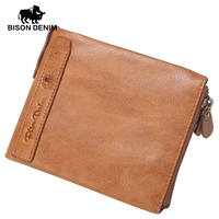 BISON DENIM Vintage Yellow Genuine Leather Wallet Men Wallets Purses Brand Men Wallet Zipper Coin Pocket