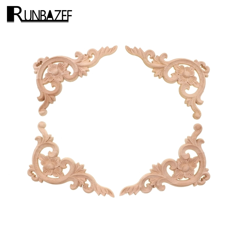RUNBAZEF Wood Applique Carving European-style Furniture with  Decorative Accessories Carved Door Heart Craft Decoration