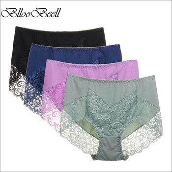 72ff433a679c BllooBeell 4 piezas ropa interior de algodón para mujer Bragas de encaje  sexi para chicas calado