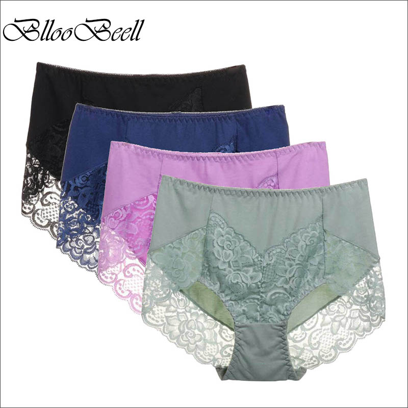 BllooBeell 4piece Womens Cotton Underwear Panties Girls Sexy Lace Briefs Hollow Out High Mid-Rise Ladies Lingerie Large Size