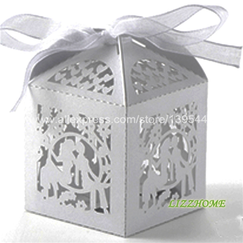 60pcs Lot Silver White Wedding Favor Bo Shape For Weddings Anniversary Party