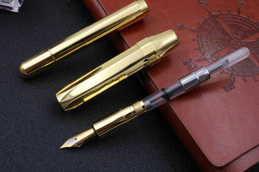 Bureau écriture papeterie vintage en laiton iraurita octogone poche plein métal sac de voyage caneta stylo plume