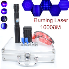Most Powerful Burning Laser pointer Torch 450nm 10000m Focusable Blue Laser Pointers Flashlight burn match candle lit cigarette купить недорого в Москве