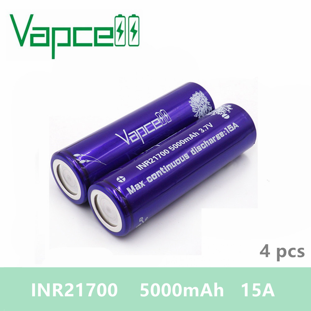 Free shipping 4pcs Vapcell INR21700 battery 5000mAh 15A meet the technological requiment rechargeable battery smoke E