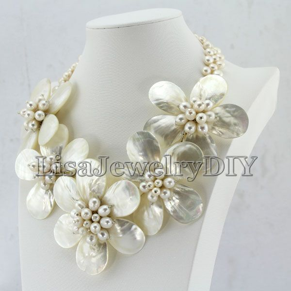 High Quality Freshwater Pearl Necklace,Holiday Party Necklace,White Flower Shell Necklace Pearl Jewelry  HD5168