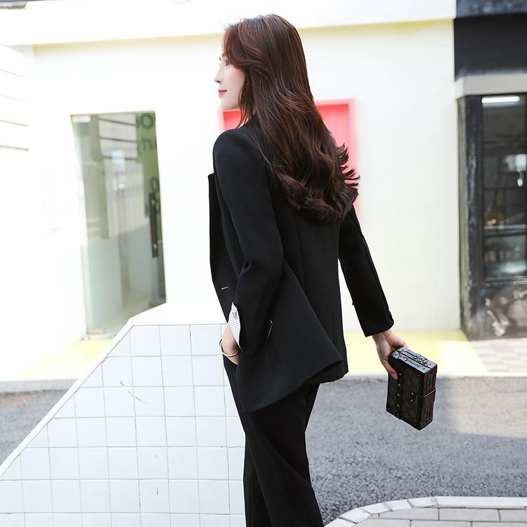 Femmes 2018 2 Lâche Occasionnel marron Petit Femelle Rétro Pièces Tempérament Mince D'affaires Costume ensembles Noir Mode De prqYxrA7w