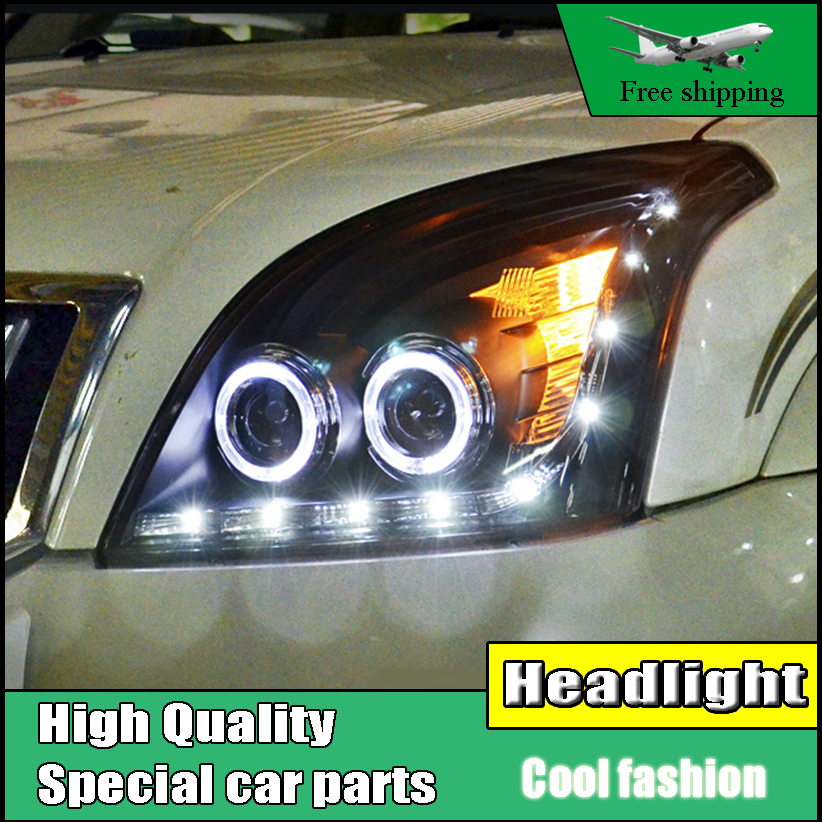 Car Styling Head Lamp Case For Toyota Prado LC200 Headlights 2004-2009 LED O Angel Eyes Headlight DRL Bi Xenon Lens HID Low Beam hireno headlamp for 2004 10 hyundai elantra headlight headlight assembly led drl angel lens double beam hid xenon 2pcs