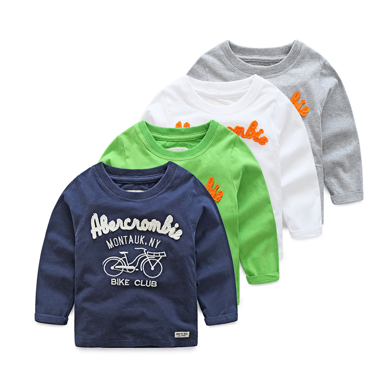 2017 New Boys Long Sleeve T-shirt Girls Causal Cotton Baby Kids T shirt For Children Spring Tops Bicycle Cartoon Child Clothes
