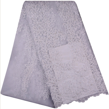 White Color African French Lace Fabrics With Sequins And Beaded High Quality Nigerian Cord Lace Fabric For Wedding Dresses F936