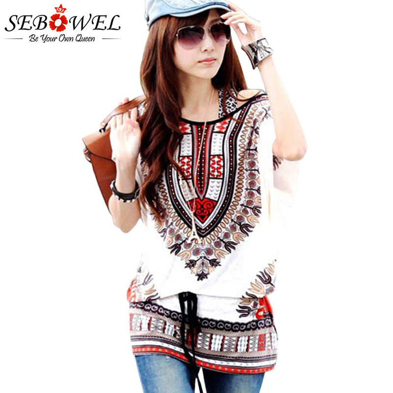 SEBOWEL 2018 Summer Women Exotic Print Batwing Chiffon Blouse Onesize kimono women korean shirts streetwear plus size shirt