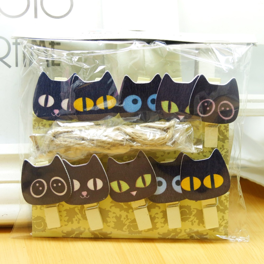10 Pcs/Lot Cute Black Cat Wooden Clip Photo Paper Clothespin Craft Clips Party Decoration Clip With Hemp Rope