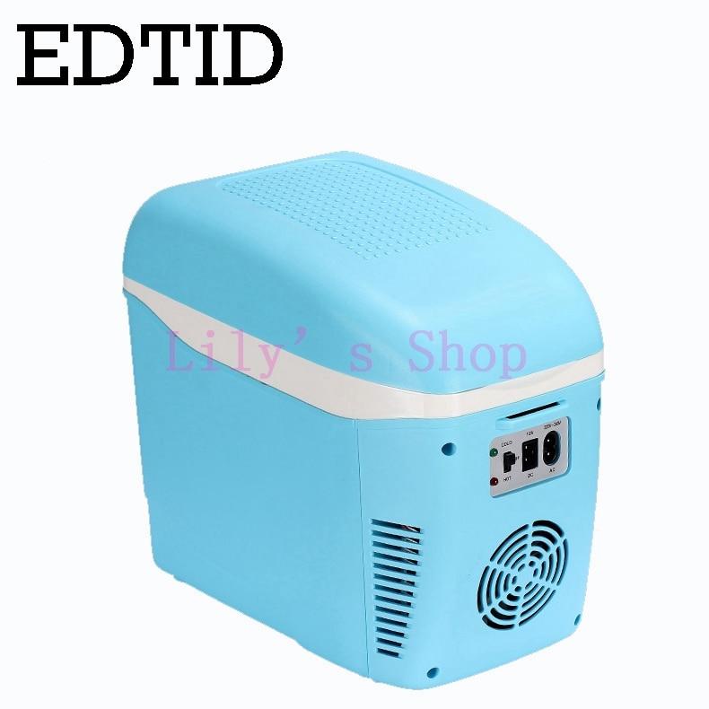 EDTID MINI Fridge Portable Car Household Electric Refrigerator Auto Travel Drink Cooler Box Freezer Warmer 7.5L 12V 220-240V EU