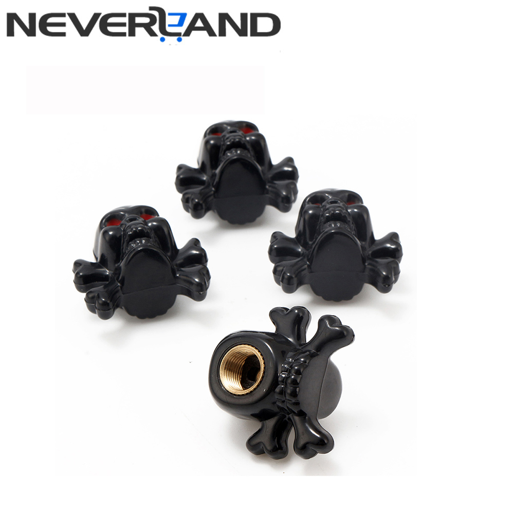 4pc Skull Wheel Caps Dust Stems Tire Valve Caps in Type Valve for Bike Motorcycles Auto Car Tire Truck Accessories Free Shipping
