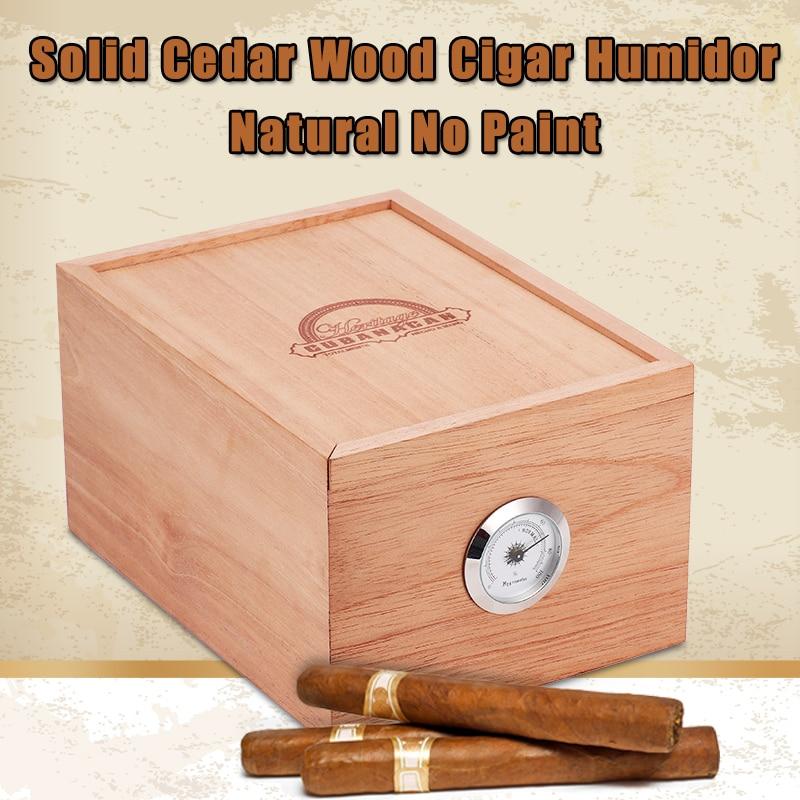 CUBANACAN Natural No Paint Solid Cedar Wood Cigar Humidor Storage Box High Quality Cigar Cabinet With Hygrometer