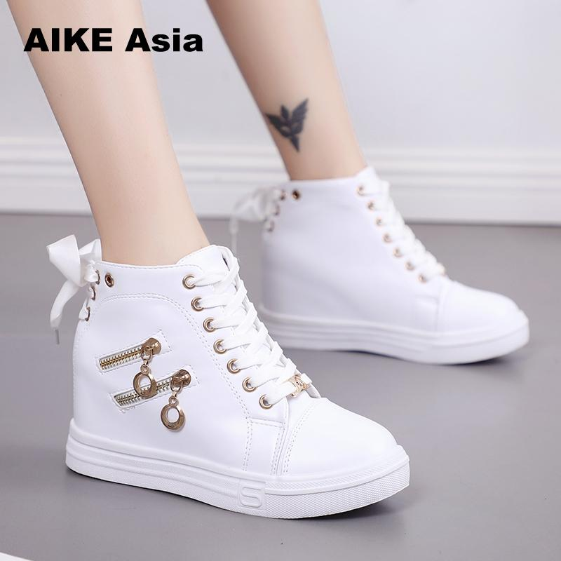 Women Wedge Platform Rubber Brogue Leather Lace Up High Heel 6 Cm Shoes Pointed Toe Increasing Creepers White Sneakers Zipper 66