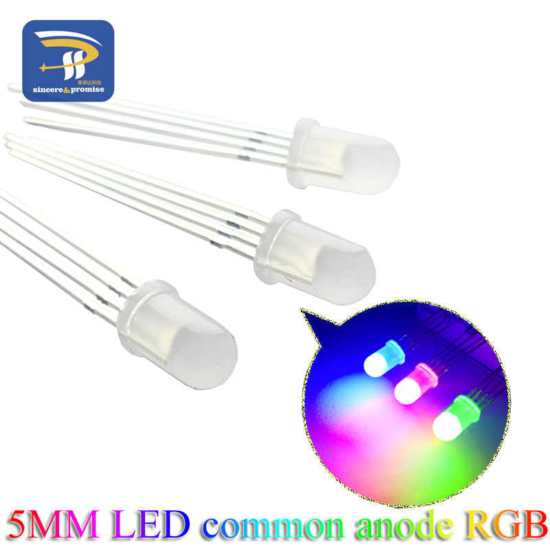 100 pièces multicolore 4pin 5mm RGB Diode LED lampe tricolore ronde commune Anode LED F5 Diode électroluminescente rouge vert bleu