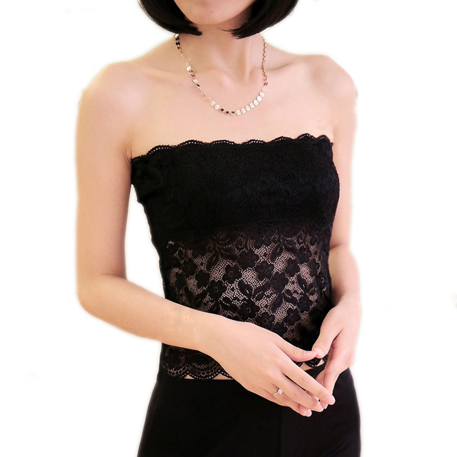 100% Pure Silk Women's Lace Tube Tops Femme Detachable Bra Pads Women OL Ladies Sexy Lace Female Wrap Chest Fashion Woman Inner