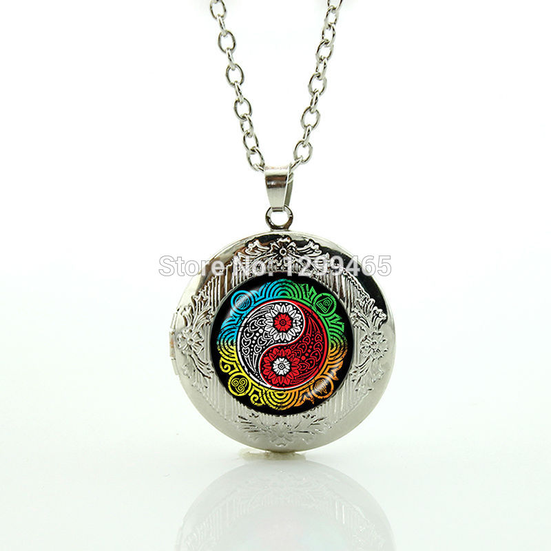 Hot sale amazing fashion alloy jewelry Chinese Taoism sign ancient Eight Diagrams locket pendant glass cabochon pendant N 881