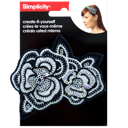 Bulk Buys WM415-96 Simplicity Embroidered Sequin Flower Headband Accent sequin embroidered zip up jacket page 2