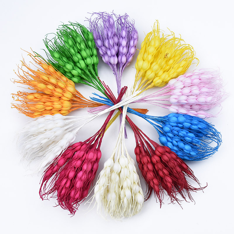 10pcs Artificial Plants DIY New Year Christmas Wreath Silk Bride Flowers For Scrapbook Fake Wheat Ears Diy Wedding Home Decor