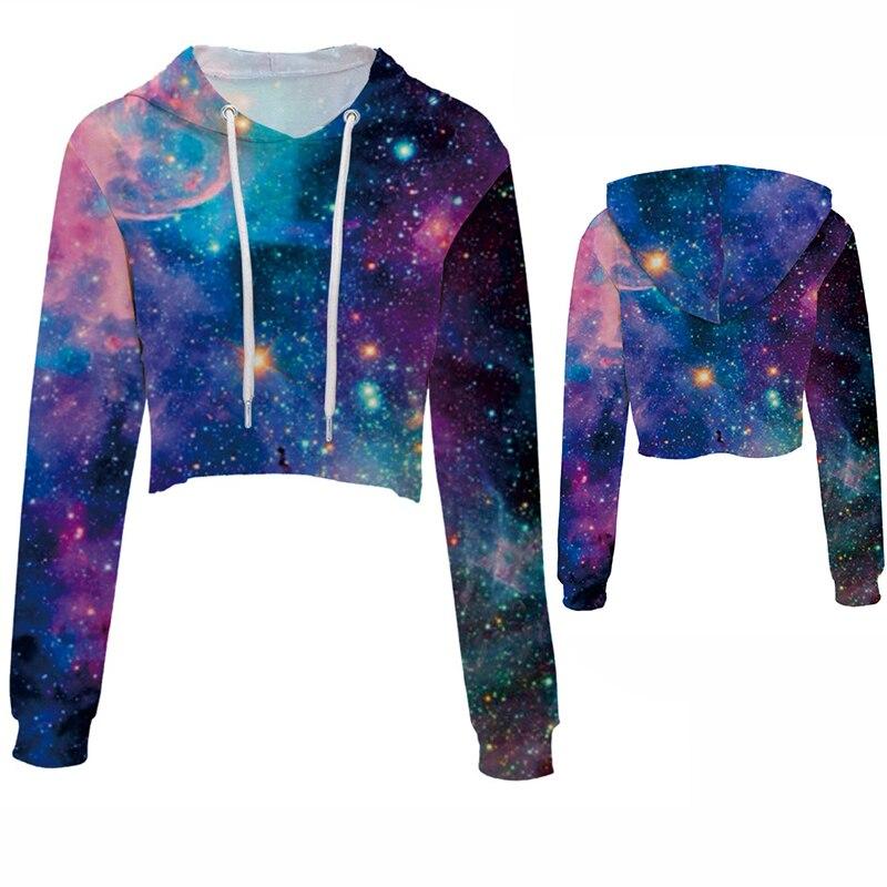 2018 NEW Womens Sweatshirts Hoodie Blue Starry Sky Milky Way 3D Printed Woman Girls Crop Top Hoodie Pullover Drop Ship