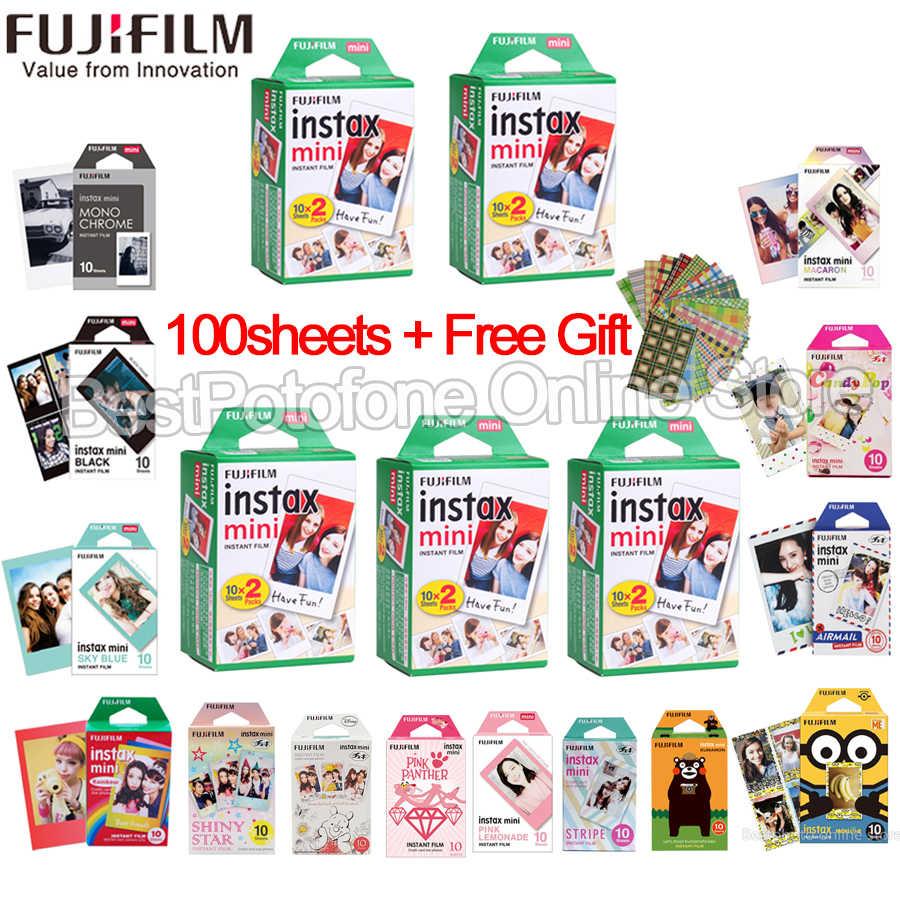Fuji Fujifilm instax mini 9 8 10-100 folhas branco Borda Cor filmes Fims para instax mini Câmera Instantânea 8 9 7 s papel Fotográfico
