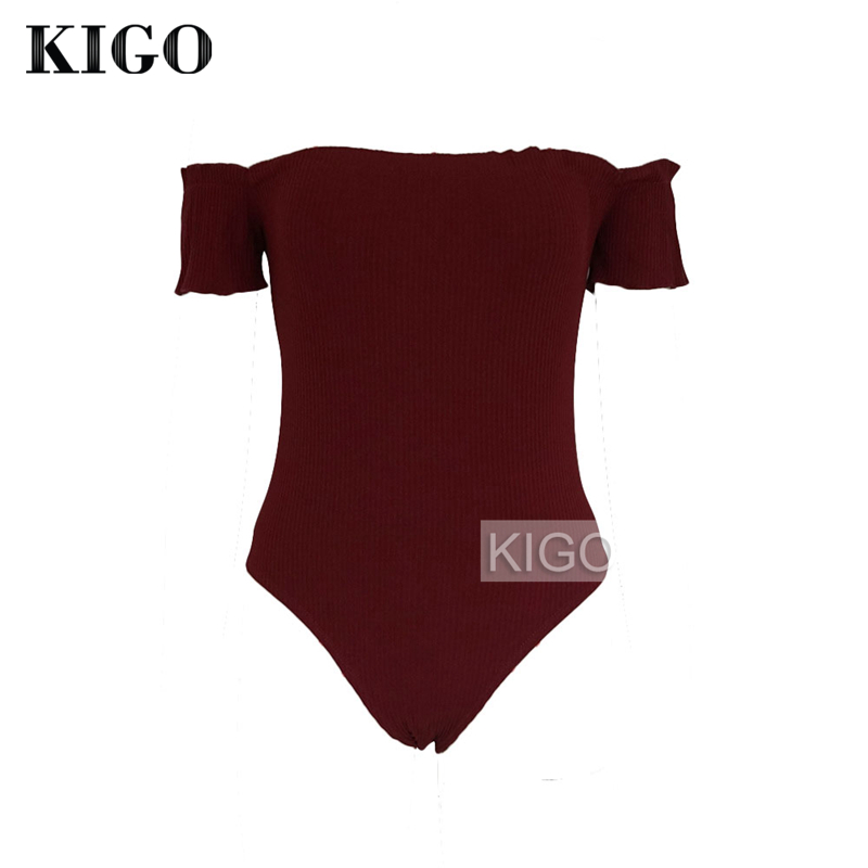 Summer Romper Knitted Playsuit Overalls Wine Red Off Shoulder Jumpersuits For Women 2018 Slim Bandage Bodysuit KG0344H ...