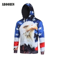 ABOORUN 3D Print Hoodies Sweatshirts Men Fashion American Flag Hooded Sweats Tops Hip Hop Unisex Pullover