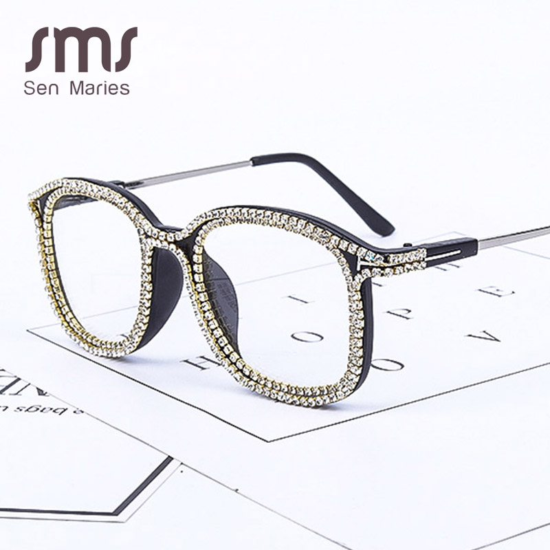 Fashion Cat Eye Gold Rhinestone Sunglasses Women 2019 Brand Designer Vintage Men Metal Transparent Lens Sun Glasses Shades Gafas
