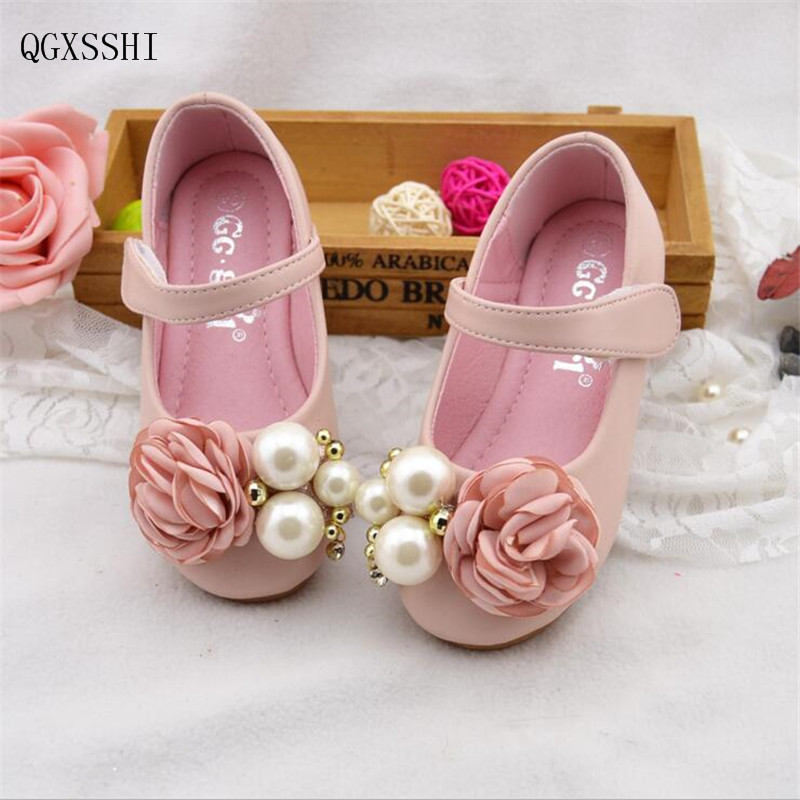 QGXSSHI Pretty Pearl flowers Girl Leather Shoes For Girls Party Dance Children Shoes Princess Platforms Child Wedding Shoes