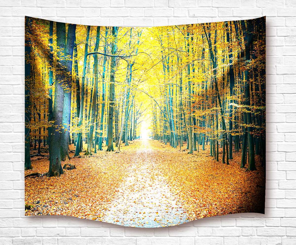 Drop Shipping Forest Tapestry Autumn Leaves Path 3D Wall Hanging ...