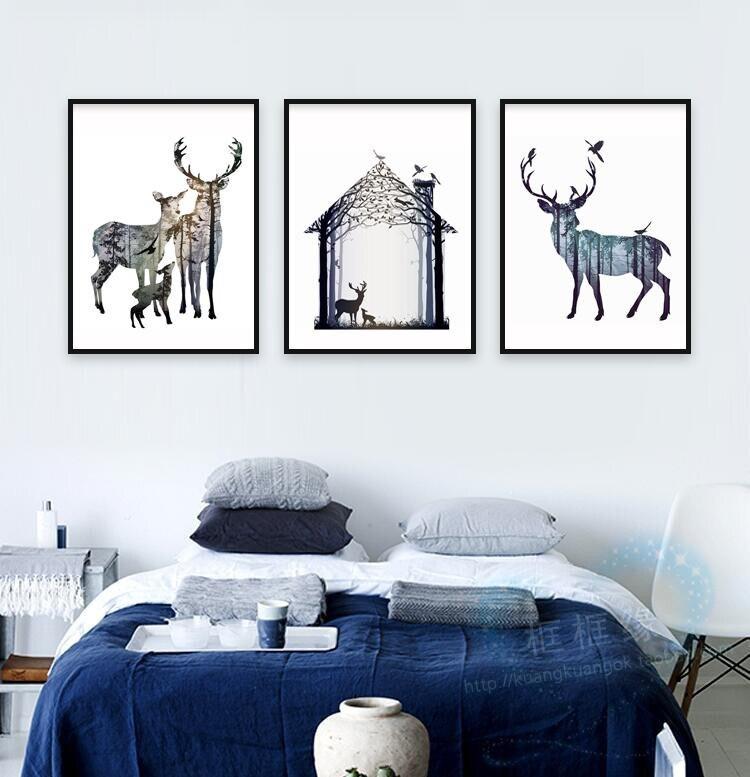 0e4339f6e بالثلاثي الشمال قماش اللوحة ظلية الأسرة مع الصنوبر غابة الغزلان ، فن الطباعة  المشارك جدار صور للمنزل الديكور