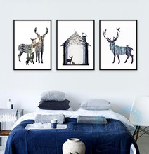 Triptych Nordic Canvas Painting Silhouette of Deer Family with Pine Forest,Art Print Poster Wall Picture For Home Decoration