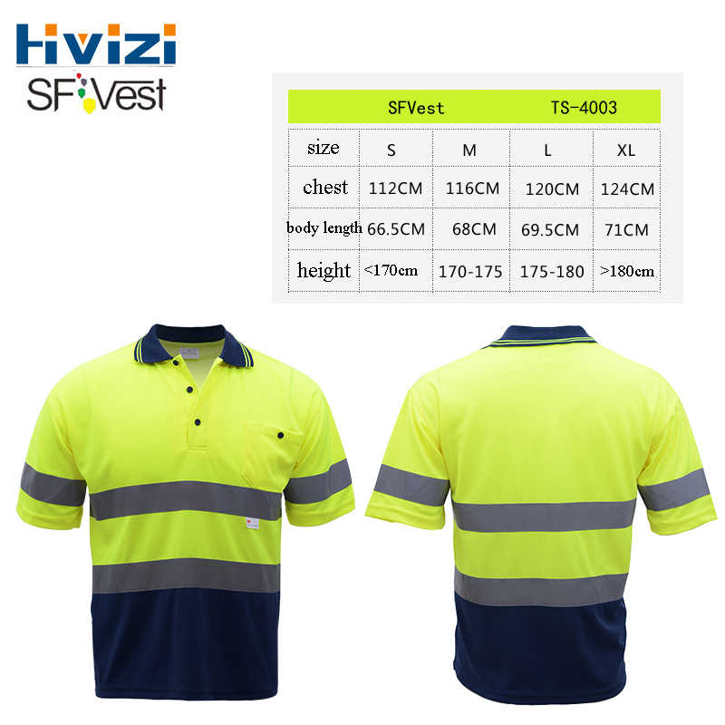 Hivizi Mens Reflective Safety Vests Short Sleeves Summer Construction Shirts Road Bike Bicycle Top Cycle Clothing LOGO Print