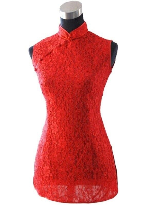Chino rojo de encaje Sexy para mujer de la camisa Tops delgado Floral Hollow Out
