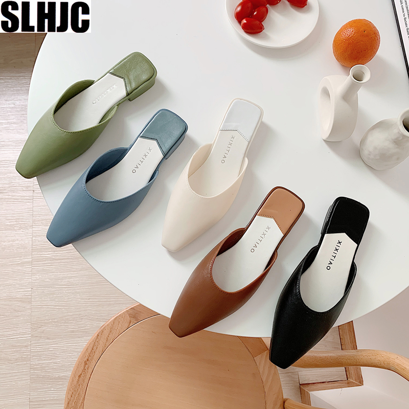 SLHJC Square Toe Mules Slippers Women Summer Autumn Fashion Candy Color Flats Sandals Jelly Slides Holiday Beach Shoes Anti