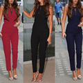 Muture new women's sleeveless zipper lace v neck lady jumpsuits Siamese trousers