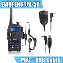 UV-5X actualiza BAOFENG UHF + VHF de Banda Dual/Doble Reloj FM Radio de Dos Vías Walkie Talkie Transceptor + programa de Cable + Auricular + Micrófono