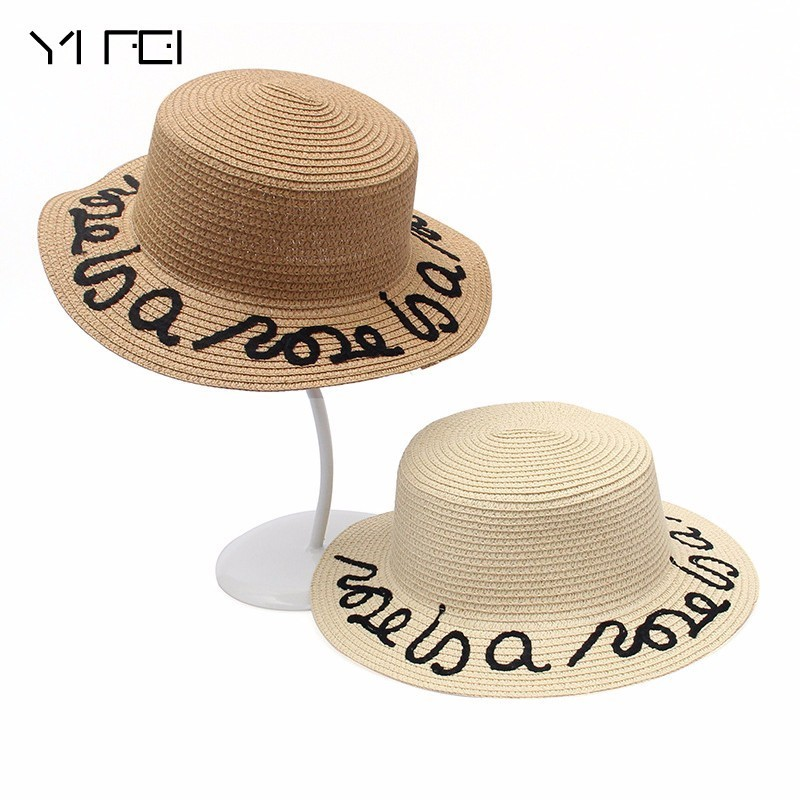 2018 New Women Straw Summer Large Brim Fedora Customized Letter Sun Hat Floppy Ribbon Fashion Beach Hat