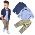 2017 Boys Clothing Gentleman Sets Handsome Denim Children jacket + shirt + pants 3pcs/set kids baby Children suits Hot Selling