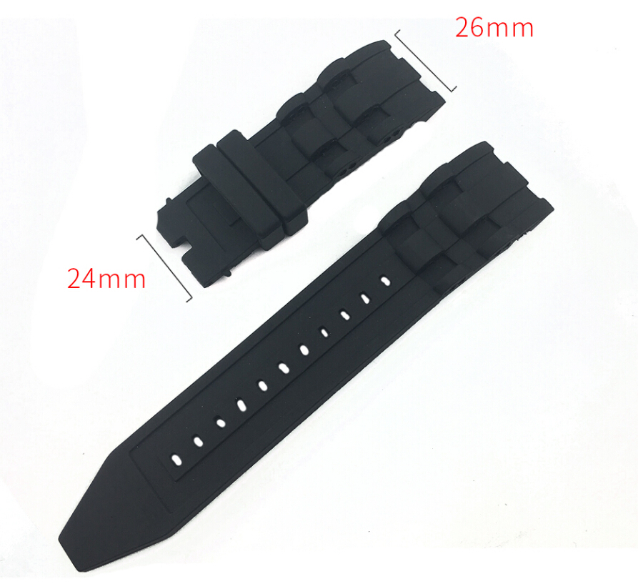 Us 12 94 Off 26mm Silicone Rubber Watchband Black Luxury Men S Wristband Watch Bracelet Replacement Strap No Buckle For Invicta Pro Diver In