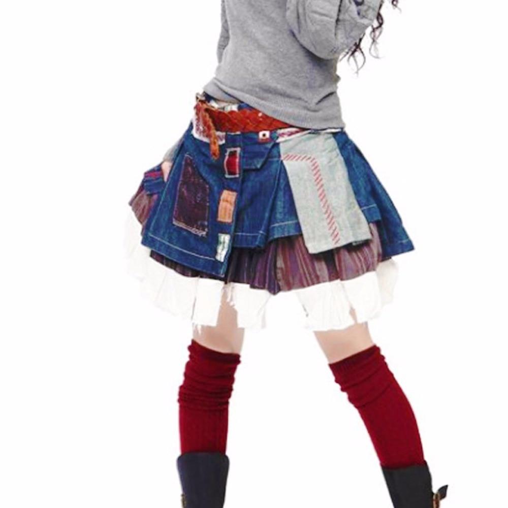 Pour Bleu Mignon Taille La Denim Automne Mini Plus Vintage Short Jeans Femelle 7xl Ciel Plissées Jupes Rétro Casual 6xl Femmes Conceptions Hiver pu 5xl qF15xwCH