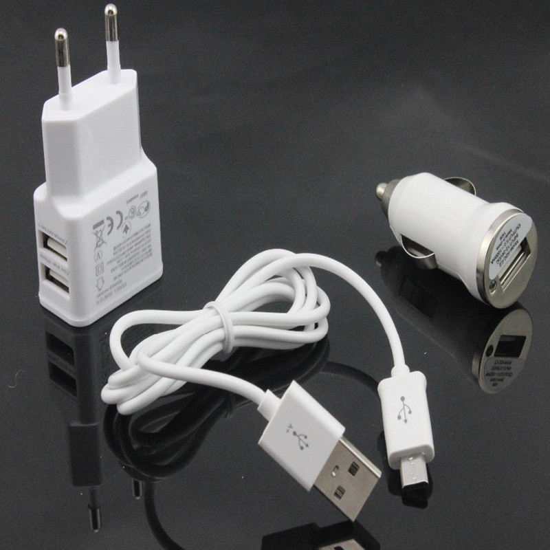 white 1set 5V 2A USB charger car charger date micro USB cable for Samsung Galaxy S4