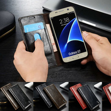 For Samsung Galaxy S7 Edge Case Original Genuine Leather Magnetic Auto Wallet Flip Stand Cover For Samsung S7 S6 Edge S5 Mini S4