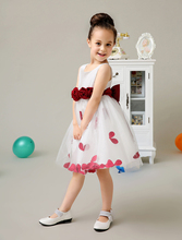 Tulle A line ivory little Girls Dresses with red sash wedding flower girls dresess kids girls