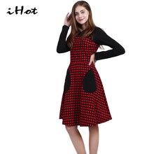 IHOT Womens plus size dresses Casual Long sleeve Pockets Plaid Party Skater Knee Length Midi dress