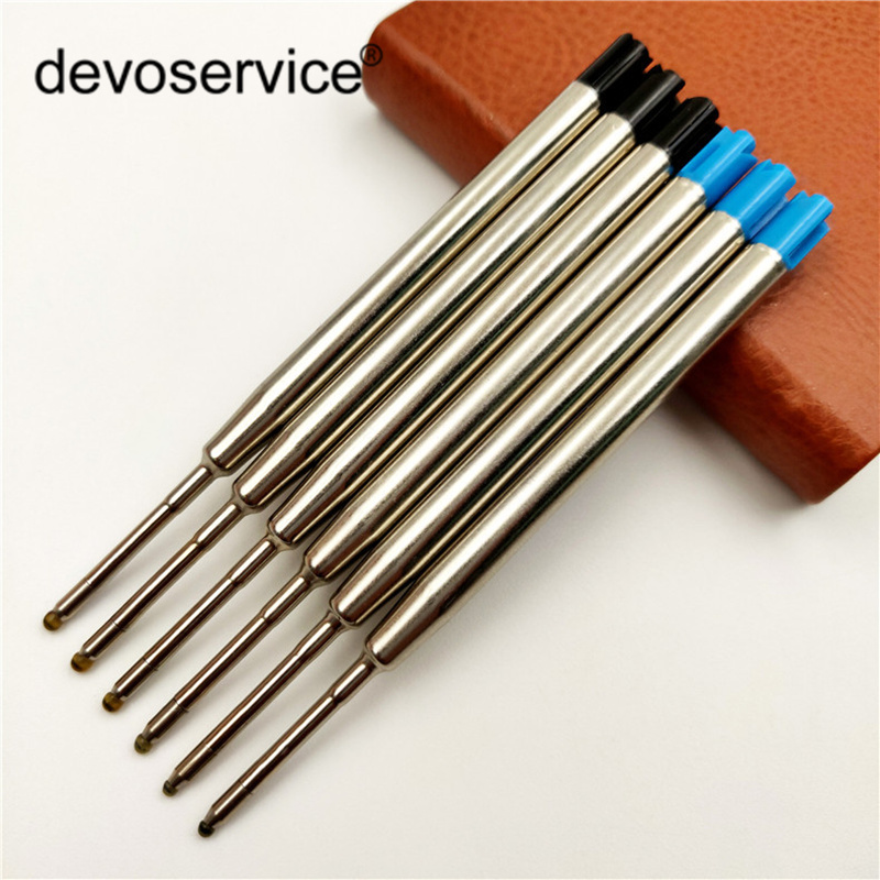 5Pcs/Lot Metal Ballpoint Pens Refills Ink Color Blue Black Replenishmen Inks Diamond Pen Office Signature Rods School Supplies