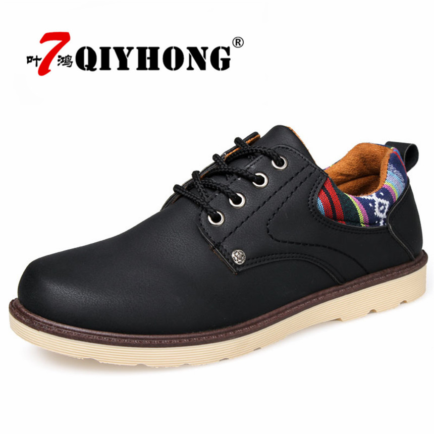 Hot Sale Casual Shoes Men Spring Autumn Waterproof Solid Lace-Up Man Fashion Flat With Pu Leather Shoe QIYHONG mens casual leather shoes hot sale spring autumn men fashion slip on genuine leather shoes man low top light flats sapatos hot