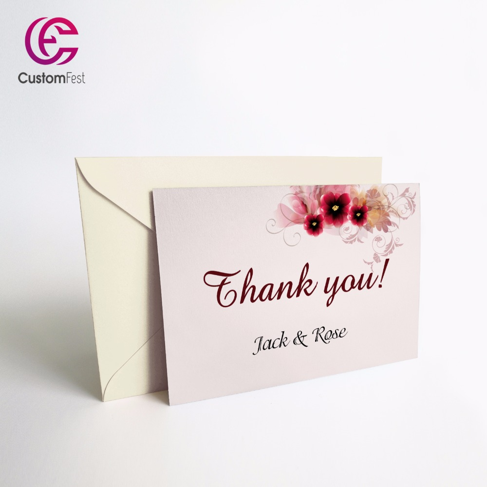 50pcs/lot Personalized Thank you card or save the date card with free envelop Red flower whole set available GXK007