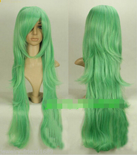 Women Gift word Love real Hot heat resistant Kanekalon Party hair SHIPPINGNew wig Cosplay Pokemon Green Mixed Long Resistant Lev